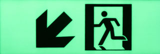 Exit sign diagonal arrow down left 300mm x 100mm