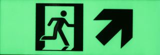 Exit sign diagonal up right300mm x 100mm