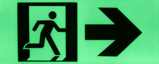 Exit sign running man/right arrow/door 370mm x 150mm