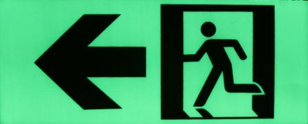 Exit sign running man/left arrow/door 370mmx150mm & Exit sign running man/left arrow/door 370mmx150mm - Glow In The Dark ...
