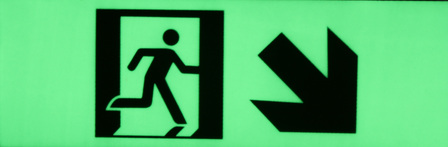 Exit sign diagonal arrow down right300mm x 100mm