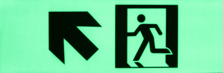 Exit sign Diagonal arrow up left300mm x 100mm