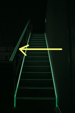 Hand rail 3 glow strips 50mm diameter per metre
