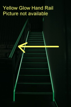 Hand rail safety yelow 3 glow strips 50mm diameter