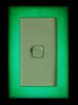 Green glowLight switch cover 130mm x 85mm x 8.5mm (deep)