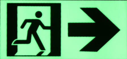 Exit sign running man/right arrow/door 170mm x 80mm
