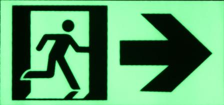 Exit sign running man/right arrow/door 170mm x 80mm