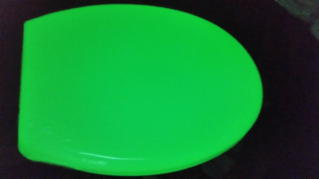 Green glow toilet seat with soft close lid